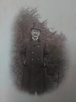 Antik magyar fotólap elegáns úr cilinderben kora 1900-as darab