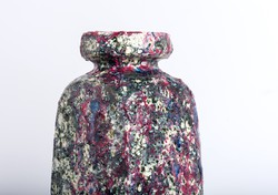 Bod Éva ritka csurgatott mázas samott kerámia váza, padlóváza  34 cm