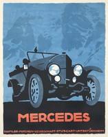 Mercedes oldtimer automobil reklám plakát reprint nyomat Ludwig Hohlwein régi autó kocsi c. 1930