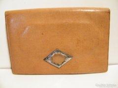 Antik női bőr kézitáska jelzett ezüst csattal