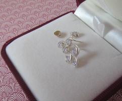Három köves ezüst fülbevaló