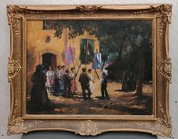 Ujváry Ferenc  (1898-1971) Körmenet / Impresszionista festménye