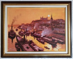 """Bánfalvy Ákos """"Pozsony 1900 körül"""" c. olajfestmény ingyen postával"""