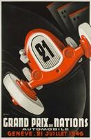 Art deco autóverseny plakát reprint Grand Prix 1946 Genova kis piros automobil retro reklám hirdetés
