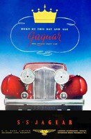 Vintage SS Jaguar oldtimer reklám plakát reprint 1937 régi piros automobil arany korona autó embléma