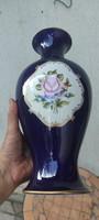 Kobalt kék Vàza,viràgokkal, Hollóházi porcelán! Ritkasàg, gyönyörű màzzal !