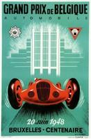 Art deco autóverseny plakát reprint Grand Prix 1948 Brüsszel Belgium piros automobil retro reklám