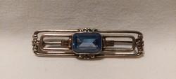 Art Deco ezüst bross kék, csiszolt kővel