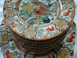 Dekoratív Saji Imari Japán madaras tál, tálaló és 6 db kistányér