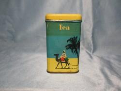 Régi teás fémdoboz teve mintával, fűszertartó