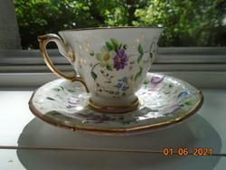 1848 CHRISTIAN FISCHER Pirkenhammer MÚZEÁLIS virág és arany mintákkal 16 szögletes csésze  alátéttel