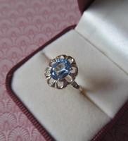 Kék köves ezüst gyűrű - 16,6 mm belső átmérővel