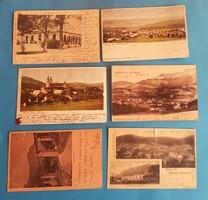 6 db osztrák képeslap.  századfordulós, hosszúcímzéses