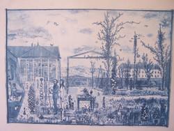 Gross Arnold: Tordai műterem I. 1965  régi szép  színes fakszimile keretben  16,5 x 23 cm , keret kü