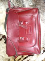 Vintage vörös bőr táska iskolatáska irodai táska