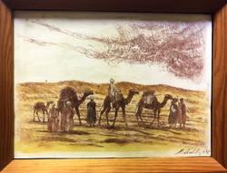 """MENDLY Attila (1911-1961) """"Teve sor a Szaharában"""" szines rézkarc,üveges fenyő keretben"""