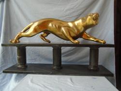 Giga és óriás jaguár-leopárd -párduc szobor réz vagy bronz három lábú márvány talapzaton( 2)