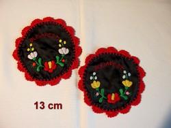 2 db Kalocsai virág mintával kézzel hímzett selyem anyagú terítő