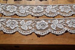 Régi Gyönyörű kézi horgolt filé vitrázs függöny polc csík pár 106 x 15