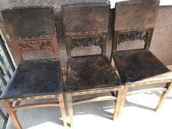 LEÀRAZVA! Eredeti nyomott bőr betétes szecessziós ebédlő székek 3db