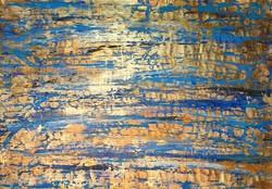 Hatalmas méretű modern festmény - kék arany kompozíció 110 x 155 cm