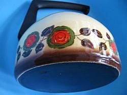 Retro rózsás zománcos teás kanna