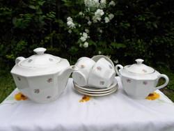 Drasche porcelán, virágos teáskészlet: teáskanna, cukortartó, csésze alátéttel