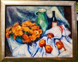 Vass Elemér: Csendélet almákkal,borosüveggel és zöld köcsöggel