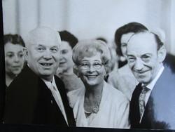 JELZETT SAJTÓFOTÓ FOTÓ 1964 Latabár Kálmán Honthy Hanna Hruscsov Szovjetúnió minisztertanács elnök