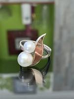Antik arany és ezüst gyűrű gyöngyökkel
