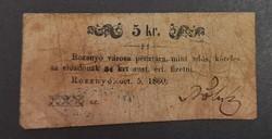 Rozsnyó 5 Krajcár 1860, G.