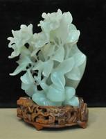 Finom faragásos Jade virágos váza
