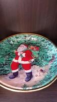 Télapós, Mikulásos,karácsonyi műanyag kerek tálca, tál. 26 cm. átmérő.