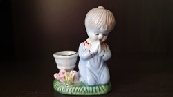 Régi, kicsi,  Imádkozó porcelán kislány , gyertyatartóval.
