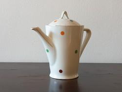 Hollóházi porcelán teás kanna kávé kiöntő retro színes szivárvány pöttyös mintával