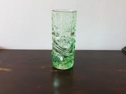 Cseh üvegművész designer art deco zöld üveg váza retro domború mintával