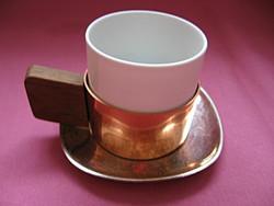 Antik  Wien csésze, EKW fafülű, réz tartóban