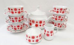 Alföldi porcelán piros napocskás teáskészlet