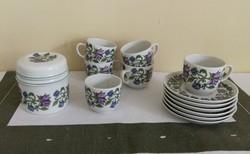 Hollóházi porcelán kávéskészlet MALÉV felirattal