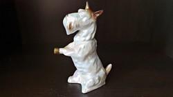 Régi, lüszter mázas, porcelán kutya.
