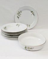 Alföldi porcelán tányérok és tál margaréta dekorral