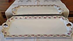 Rózsás, antik, porcelán tálca, kináló. 41 cm. hosszú.