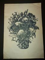 Somlai Vilma: Mezei csokor, litográfia, 34x50 cm, számozott, szignós, 51/100