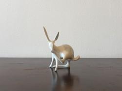 Ritka Aquincumi nyuszi nyúl porcelán állat figura Hanzély Jenő art-deco formaterve
