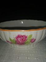 Zsolnay porcelán rózsamintás pogácsás tál