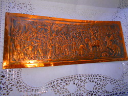 Vörösréz lemez dombormű, relief.-Honfoglalás - aprólékos kézműves munka 31 X 17 cm