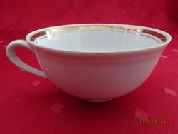 KAHLA német porcelán teáscsésze arany szegéllyel, átmérője 10,2 cm.