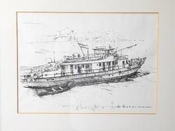 Rné Dusek Katalin hajó a Dunán pesti rakpartól megörökítve tusrajz 1976. augusztus Budapest