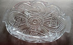 Nagy, osztott, ólomkristály asztalközép /kínáló