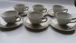 Zsolnay barokk virág mintás kávés készlet 6 db- os